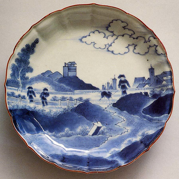 染付出島文皿<br/>Dish with Dutch Landscape (Deshima Island or View of Scheveningen)