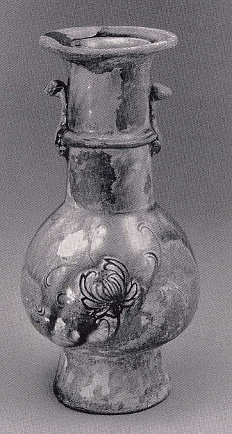 Flower Vase with Stamped Design of Lotus