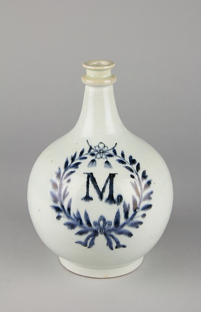 "Apothecary Bottle with Initial ""M"" in Laurel Wreath"
