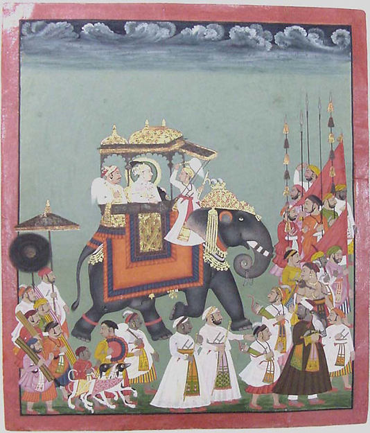 Maharana Raj Singh II in Procession with Members of His Court