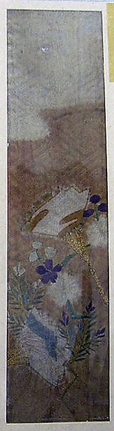 Piece from a Kosode with Cloud, Fans, Plum Blossoms, and Young Pine