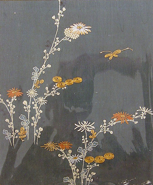 Piece from a Kosode with Chrysanthemums and Butterfly