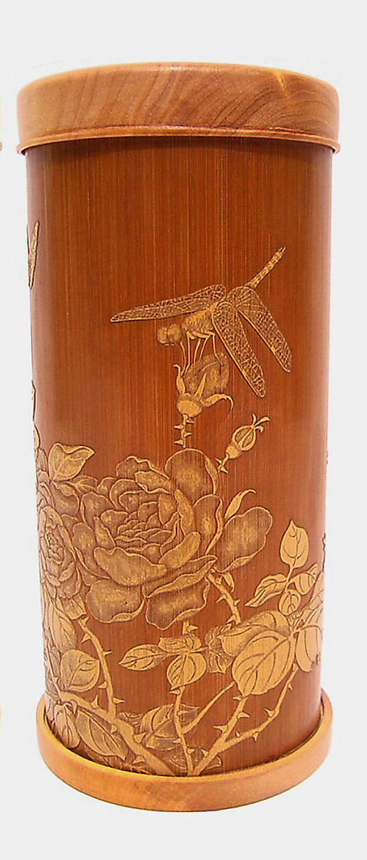 Brush Holder with Gardenias, Butterfly, and Dragonfly