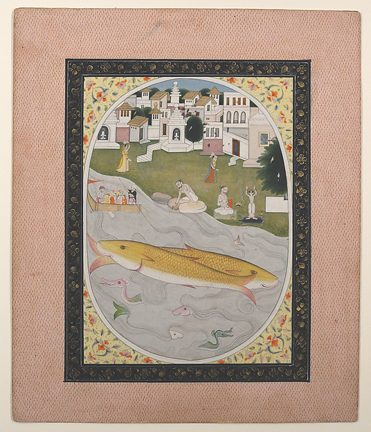 Manuscript Painting with Hindu Tantric Scene Depicting Two Fish