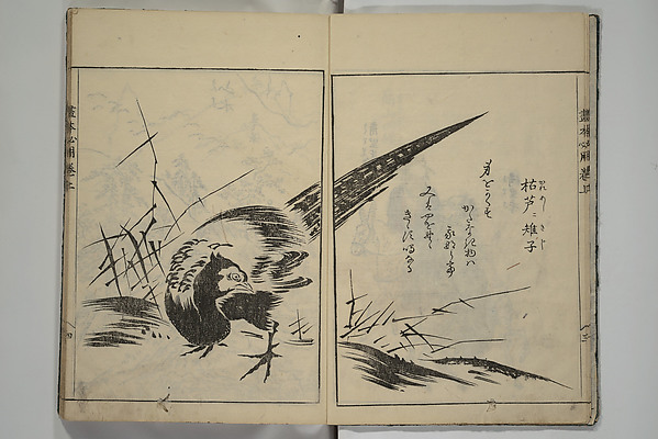 Fascinating Historical Picture of Sadatoshi with A Picture Book on the Study of Paintings (Ehon hitsury) in 1751