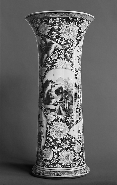 Vase with landscape and bird-and-flower scenes