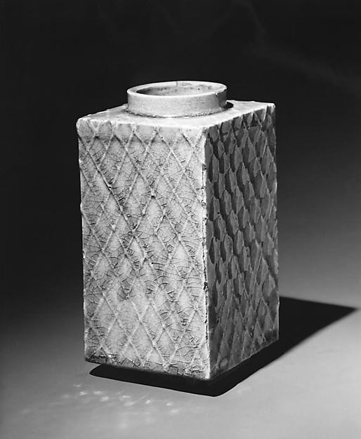 Rectangular Vase with Raised Netting Pattern