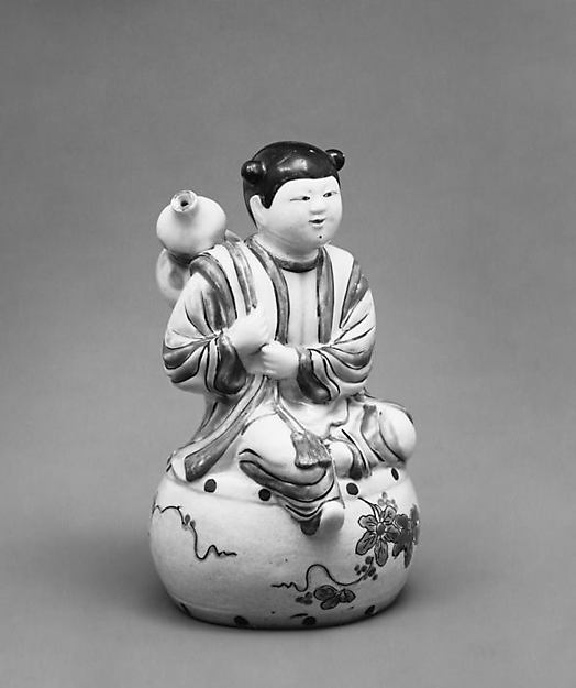 Water Dropper in the Shape of a Youth Seated on a Drum and Holding a Gourd on His Back