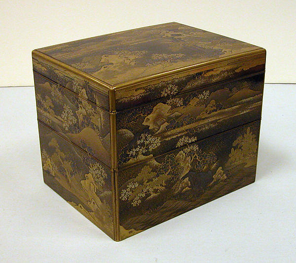 Box for Incense Utensils with Cherry Blossoms in a Landscape