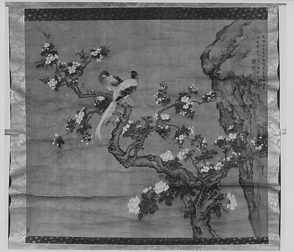 清  傳沈銓   高堂雙壽圖  軸<br/>Flowering Crabapple and Pair of Birds
