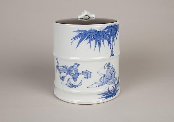 染付竹林の七賢図水差 <br/>Water Jar with the Seven Sages of the Bamboo Grove