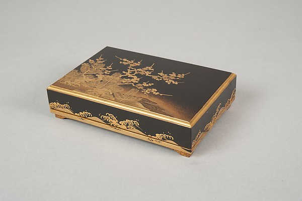 Box with Design of a Plum Tree and Pine
