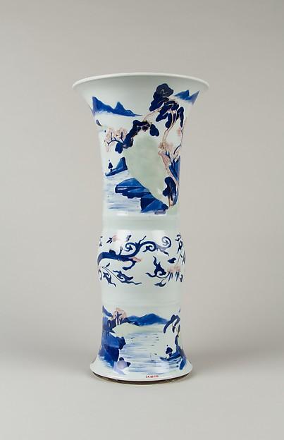 清康熙 景德鎮窯釉下三彩山水圖觚形瓶<br/>Vase with landscape scenes