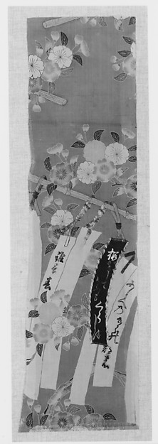 Piece from a Kosode with Cherry Blossoms and Poem Slips