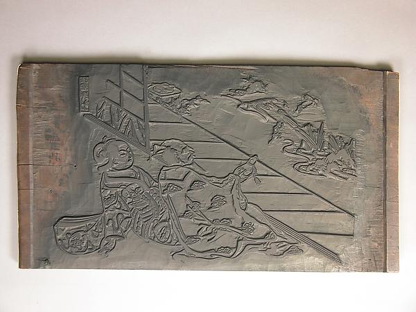 Woodblock for an Illustration by Nishikawa Sukenobu