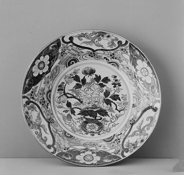 Large Dish with Peony Bouquet and Cherry Blossom Rafts