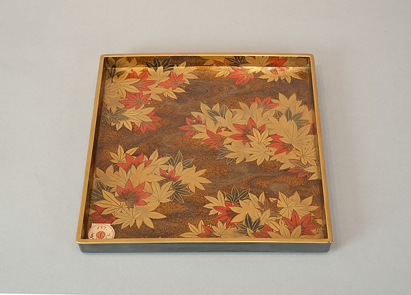 Writing Box with Portrait of Fujiwara no Ietaka and His Poem about the Tatsuta River