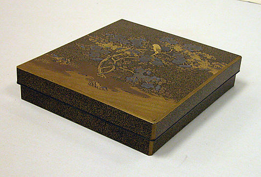 Writing Box with Design of Warbler in Plum Tree