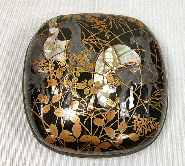Box with Design of Deer and Bush Clover