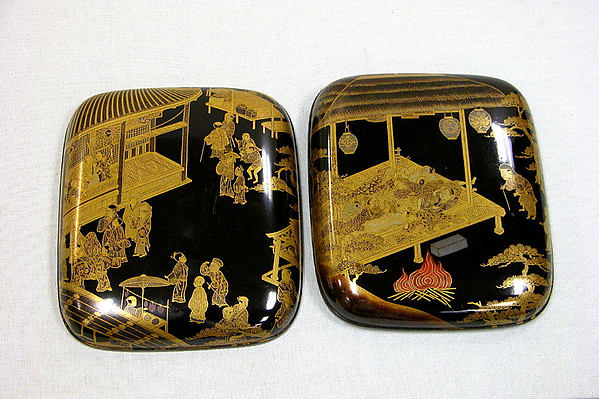 壬生狂言蒔絵香合<br/>Incense Box with Kyōgen Theater Scene at Mibu Temple in Kyoto