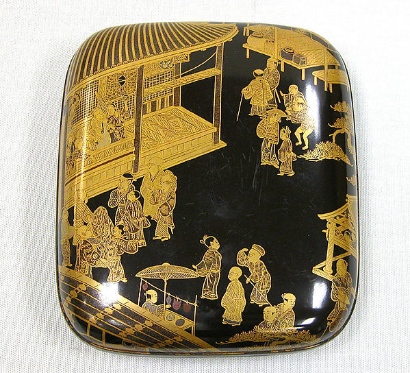 Incense Box with Night Scene of Mibu Temple Precinct