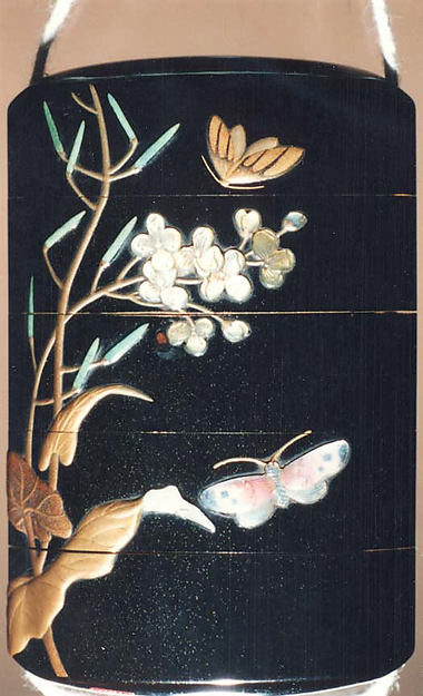 Case (Inrō) with Design of Moth and Butterflies beside Flowering Mustard Plant