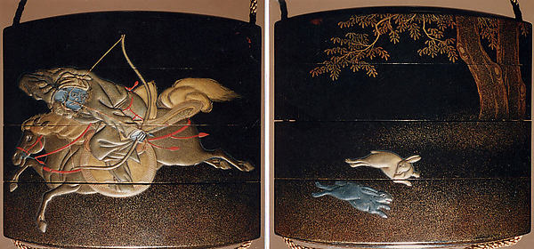 Case (Inrō) with Design of Mounted Hunter Shooting at Hares