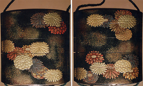 Case (Inrō) with Design of Scattered Chrysanthemum  Blossoms and Clouds