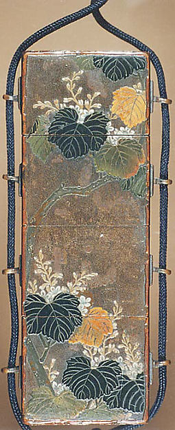 Case (Inrō) in the Shape of Wood Seal with Decoration of Pheonix and Paulownia Tree