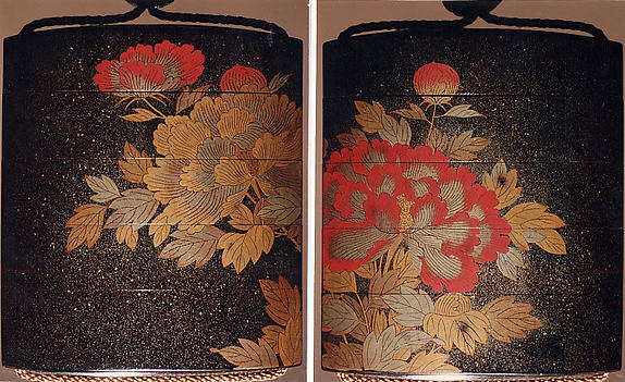 Case (Inrō) with Design of Large Flowering Peonies