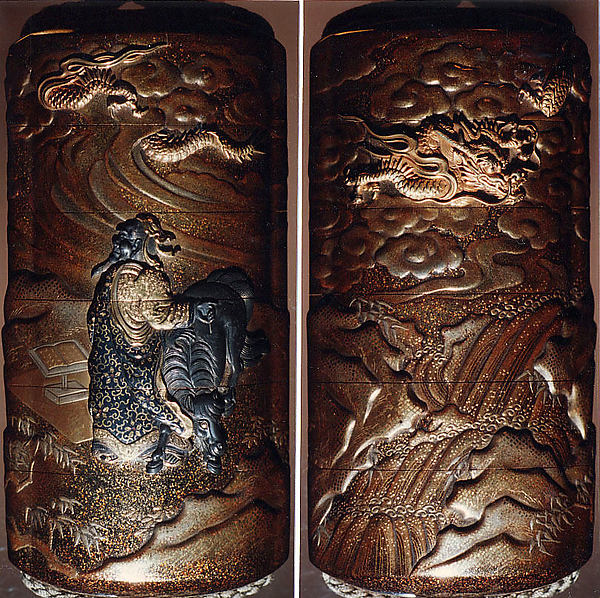 Case (Inrō) with Design of Chinese Sage beside and Ox (obverse); Dragon in Clouds over a Waterfall (reverse)