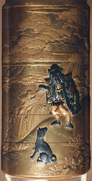 Case (Inrō) with Design of Momotarō and Dog on the way to the Island of the Devils (obverse); Monkey with Pheasant (reverse)