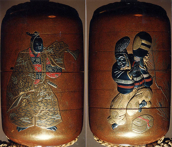 Case (Inrō) with Design of Noh Dancer with quiver from