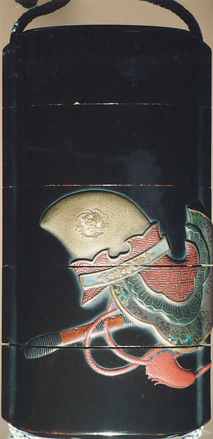 Case (Inrō) with Design of Bugaku Hat (obverseI; Shō Flute and Cymbals (reverse)