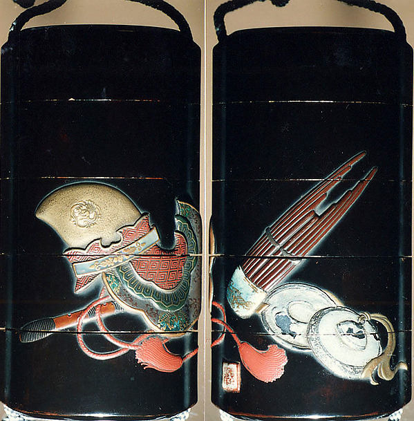 Case (Inr) with Design of Bugaku Hat (obverseI; Sh Flute and Cymbals (reverse)
