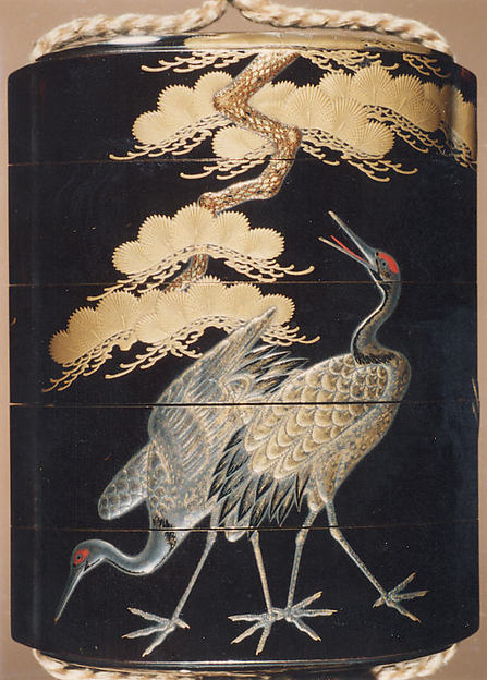 Case (Inrō) with Design of Cranes Standing Beneath a Gnarled Pine Tree