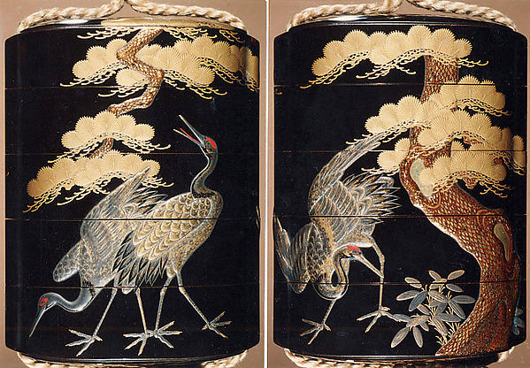 Case (Inrō) with Design of Cranes Standing Beneath a Gnarled Pine Tree and Netsuke Depicting Yoshitsune and Benkei