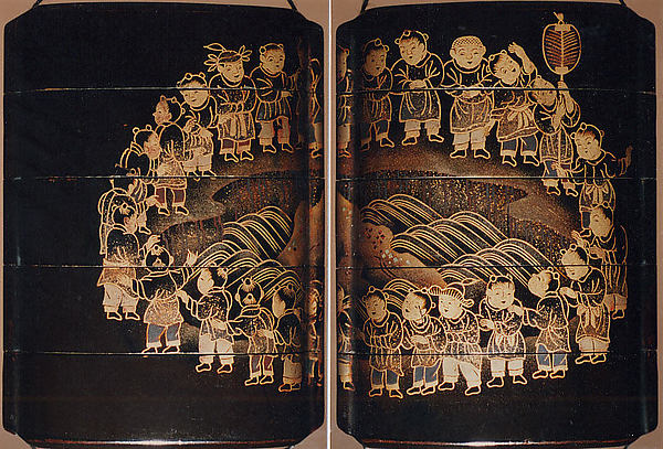Case (Inrō) with Design of Children in a Circle around a Dragon Pond