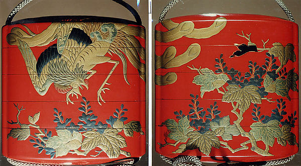 Case (Inrō) with Design of Hō-ō Bird in Flight above Flowering Kiri Branches