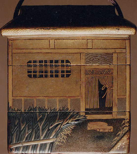 Case (Inrō) Shaped as a House with Design of Window, Fence, Flowers