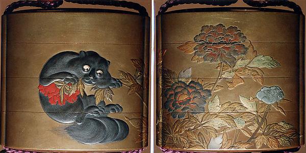Case (Inrō) with Design of Flowering Peonies (obverse) Cat Biting into Peony Stem (reverse)