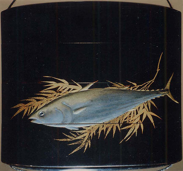 Case (Inrō) with Design of Flying Cuckoo in Flight above Pines (obverse); Bonito (Fish) on Bamboo Leaves (reverse)