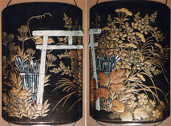 "Case (Inrō) with Design of ""Nonomiya"" (Shrine in the Fields), from The Tale of Genji, chapter 10 (obverse);  Seven Autumn Flowers Growing beside a Torii and Fence, based on ""Sakaki,"" a Chapter from The Tale of Genji (reverse)"