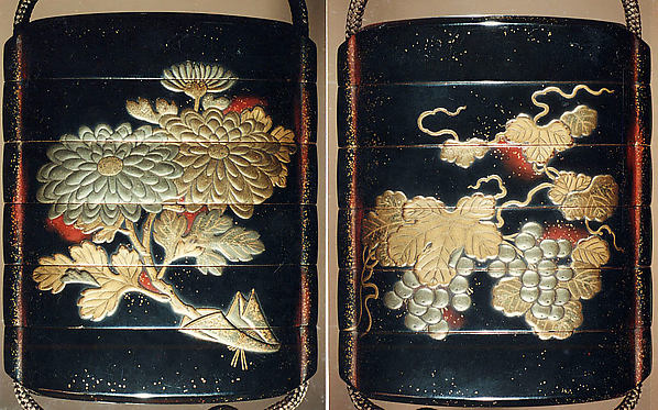 Case (Inrō) with Design of Leafy Grapevines (obverse); Chrysanthemum Spray (reverse)