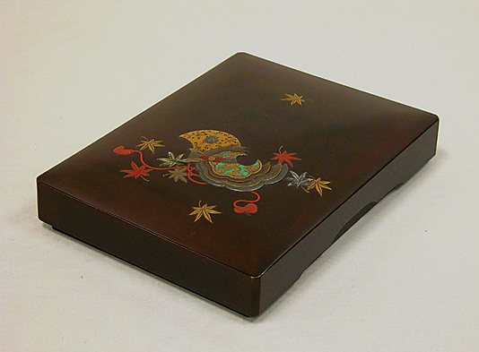Writing Box with Design of Maple Leaves and Bugaku Hat from the Tale of Genji