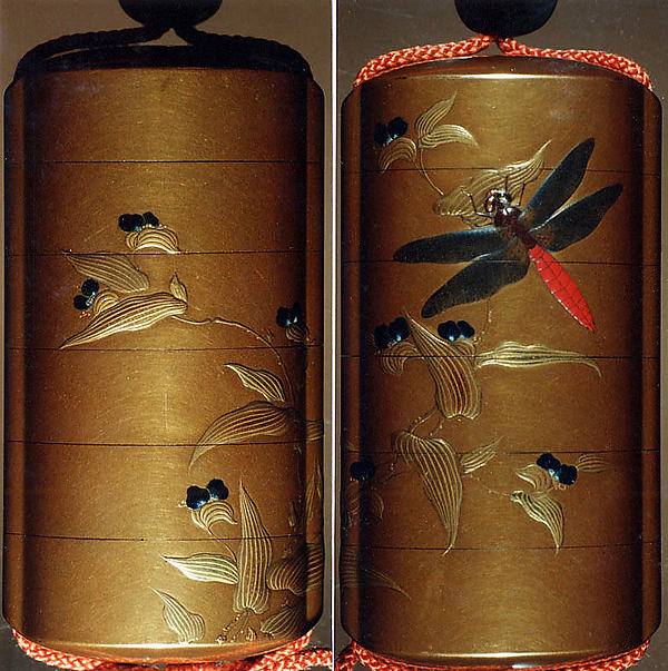 Case (Inrō) with Design of Dragonfly Seated on Leaf of Flowering Plant