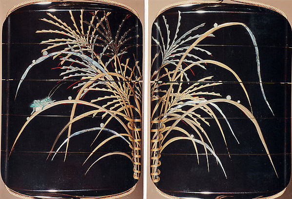 Case (Inrō) with Design of Dewdrops and Insects on Autumn Grasses in Basket