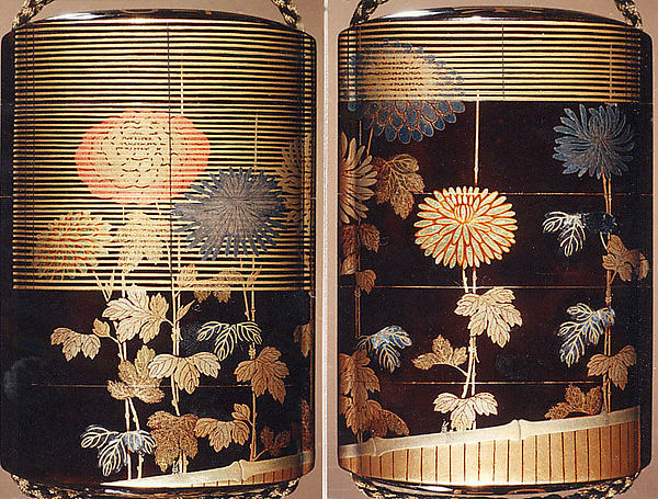 Case (Inrō) with Design of Chrysanthemums Beneath Bamboo Blinds