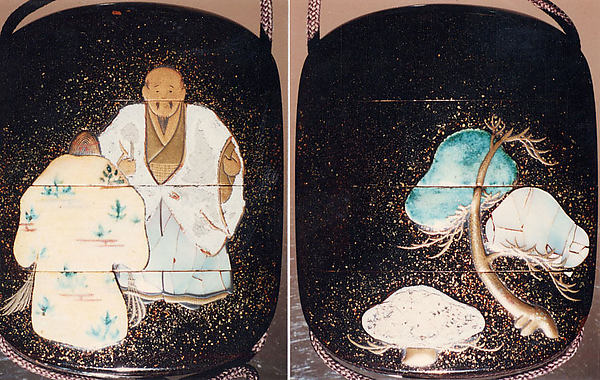 "Case (Inrō) with Design of Old Man and Woman (Jo and Uba) and Pine Trees (from Noh Play ""Takasago Spirits of the Pine"")"