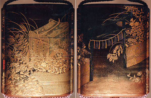 Case (Inrō) with Design of Nonomiya (Shrine in the Fields), from The Tale of Genji, chapter 10